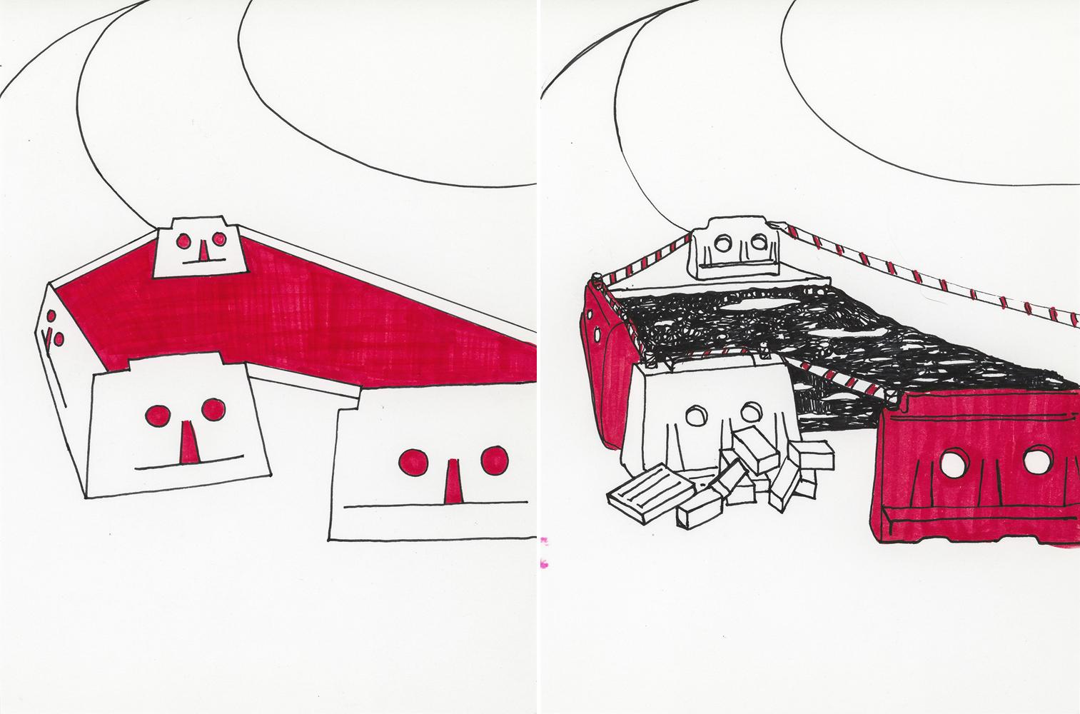 답 없는 공간_근사한 악몽_2 times, 2015, 19.5x14.5cm, pen, marker on paper